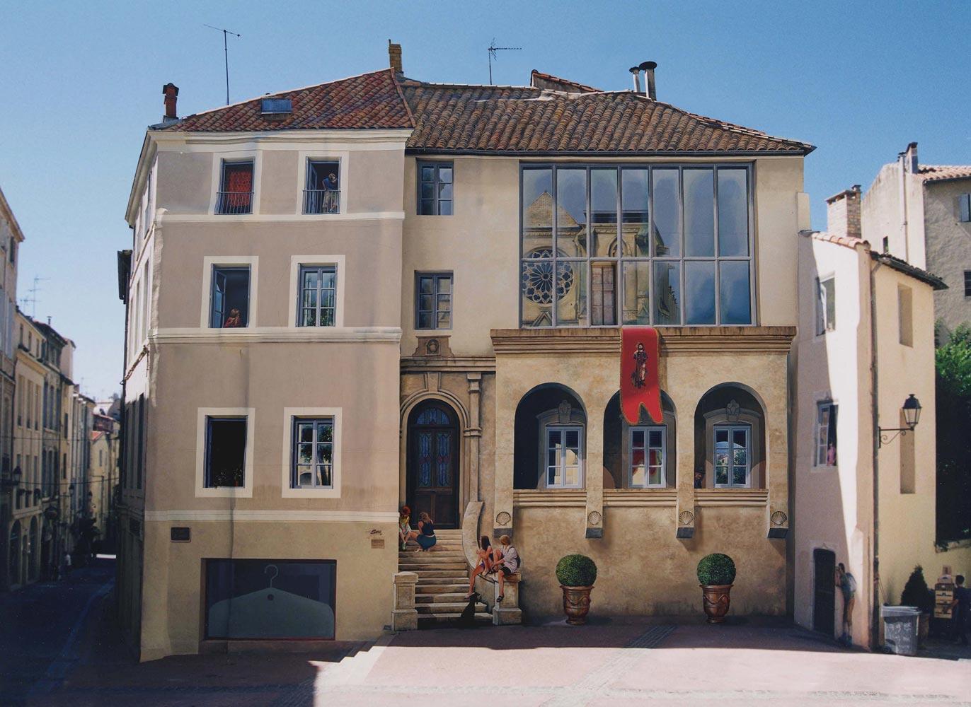 montpellier reflets de l 39 glise st roch les trompe l 39 il vincent ducaroy fresques. Black Bedroom Furniture Sets. Home Design Ideas